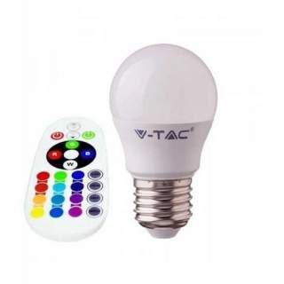 V-TAC VT-2224 Lampadina LED E27 3,5W G45 con Telecomando RGB + 3000K