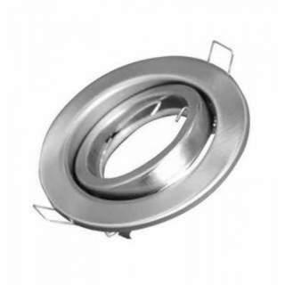 Portafaretto GU10  rotondo orientabile colore silver satinato