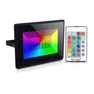 V-TAC VT-4952 Faro LED SMD 50W RGB con Telecomando Infrarossi Colore Nero IP65 Dimmerabile