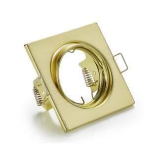 Portafaretto GU10  quadrato orientabile oro satinato