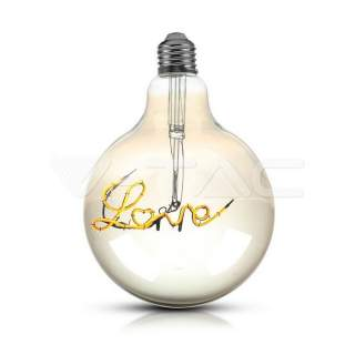 V-TAC VT-2205 Lampadina LED E27 5W G125 Filamento Ambrato Scritta Love luce calda