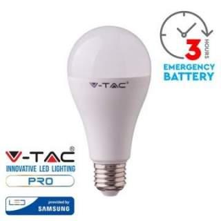 V-TAC PRO VT-2309 Lampadina LED Chip Samsung di Emergenza E27 9W con Batteria da 3h 6400K - SKU 2373