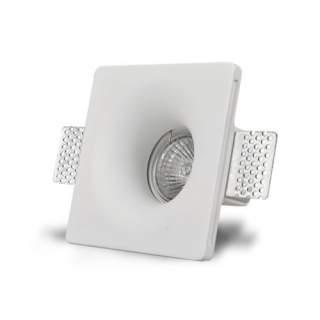 Portafaretto GU10 da incasso in gesso quadrato con fondo conico