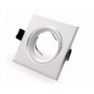 Portafaretto GU10  quadrato orientabile bianco