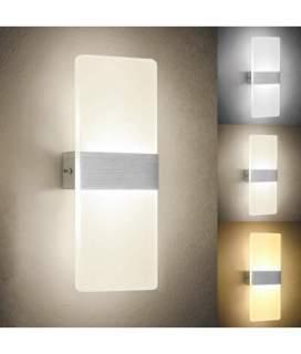 Applique da interno doppio fascio di luce 8W luce calda in vetro opaco modello E37