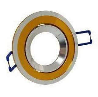 Portafaretto GU10  rotondo orientabile con bordo cromato mod