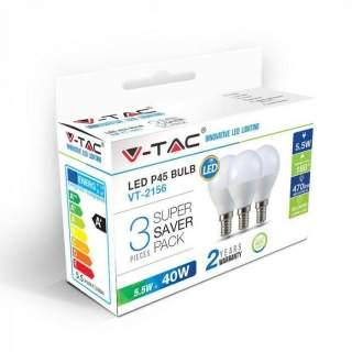 V-TAC VT-2156 Lampadina LED E14 5.5W P45  (Box 3 Pezzi)  Cal