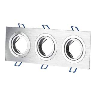 V-TAC VT-784SQ-AB Portafaretto LED da Incasso Rotondo 3*GU10 e GU5.3 (MR16) in Alluminio Spazzolato Orientabile - SKU 3610