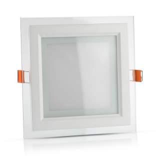 V-TAC VT-1202G Mini Pannello LED Montaggio a Incasso Quadrato in Vetro 12W luce fredda