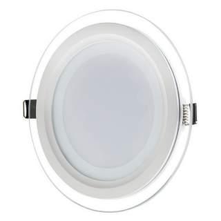 Faretto slim incasso 6w rotondo contorno in vetro modello P75  luce fredda