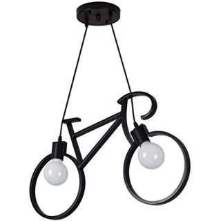 Lampadario pendente Bicicletta nera con 2 attacchi E27