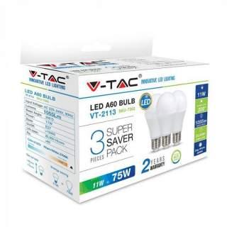 V-TAC VT-2113 Lampadina LED E27 11W A60 (Box 3 pezzi) - SKU