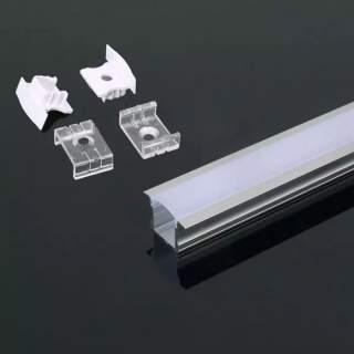 Profilo di alluminio alto con alette da 2 metri con cover opaca di protezione