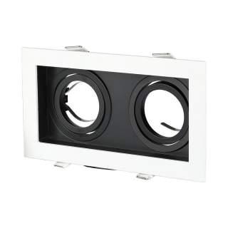 V-TAC VT-886 Portafaretto LED da Incasso Quadrato 2xGU10 Orientabili Colore Bianco e Nero - SKU 8877