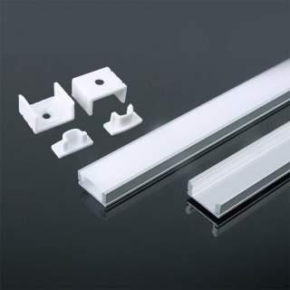 Profilo di alluminio basso da 2 metri con cover opaca di protezione