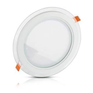 V-TAC VT-1202G Mini Pannello LED Montaggio a Incasso Rotondo in Vetro 12W luce fredda