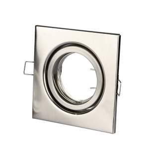 V-TAC VT-7227 Portafaretto LED da Incasso Quadrato GU10 e GU5.3 (MR16) Colore Nichel Satinato Orientabile - SKU 3473