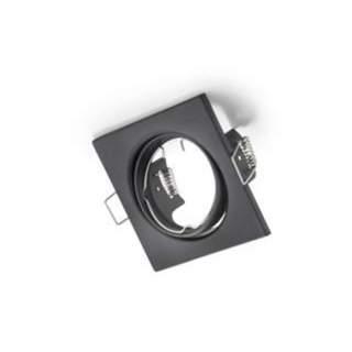 Portafaretto GU10 quadrato orientabile nero opaco