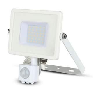 V-TAC PRO VT-30-S Faro LED Chip Samsung 30W con Sensore di Movimento bianco IP65 bianco freddo