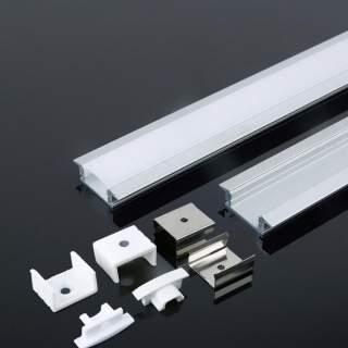 Profilo di alluminio con alette da 2 metri con cover opaca di protezione