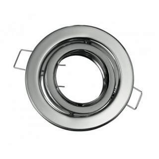 Portafaretto GU10  rotondo orientabile colore silver cromato