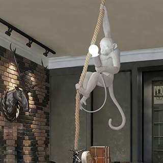 Lampadario in corda vintage con attacco E27 con scimmia appesa